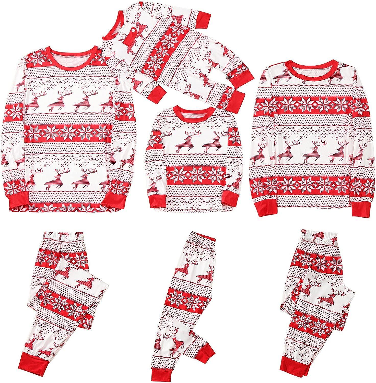 HULKAY Matching Family Pajamas Sets Christmas PJ's Long Sleeve Tops and Plaid Printed Pants Xmas Holiday Jam Sleepwear