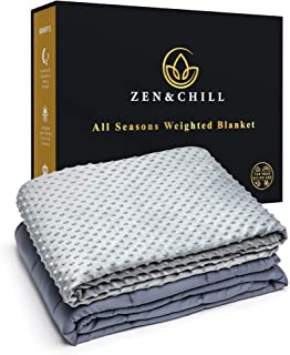 Zen&Chill All Seasons Weighted Blanket - Luxurious 2-in-1 CoolComfort Bamboo Cotton Base Layer with Premium WarmWell Minky Cover for Year Round Use (Navy Base | Gray Cover, 15lbs | 60'x80')