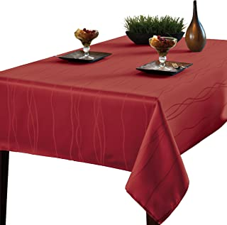 Benson Mills Gourmet SPILLPROOF Fabric Tablecloth, Rio RED, 60-INCH-BY-120-INCH, 60-inch by 120-inch