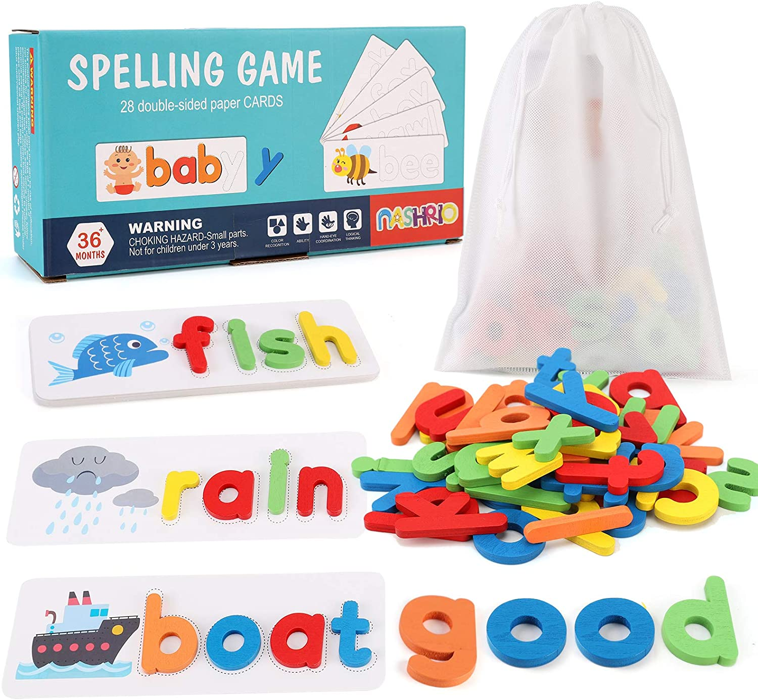 See and Spelling Challenge the lowest price Learning Toy for Very popular Wooden Kids Preschoo 3-8 Ages
