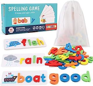 Ver y ortografía juguete de aprendizaje para niños de 3 a 8 años, educativo preescolar de madera a juego de cartas juguetes para niños y niñas, desarrolla palabras del alfabeto habilidades ortográficas bloque de letras (28 tarjetas+52 letras)