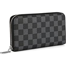 6979b9fea94a43 Daisy Rose Women's Checkered Zip Around Wallet and Phone Clutch - RFID  Blocking .