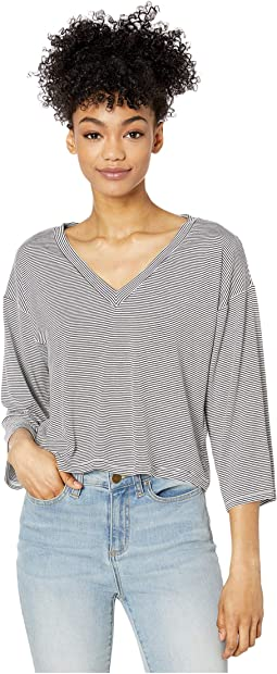 Stripe Knit V-Neck Top with Wide Sleeves