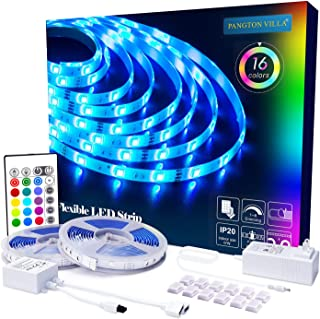 PANGTON VILLA Led Strip Lights 32.8ft with Remote and 3A Power Supply, SMD 5050 Color Changing LED Strip Light Kit for Room, Kitchen, Bedroom, Home Decoration Led Lights