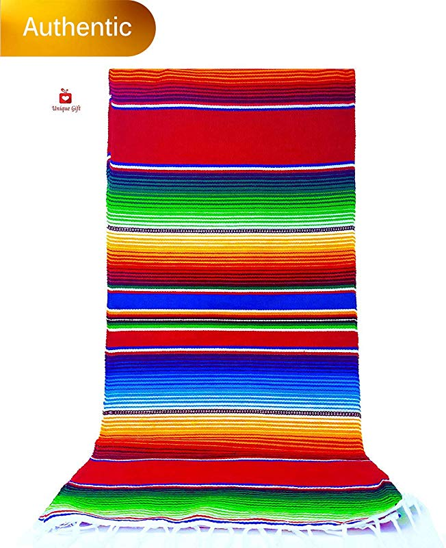New Alondra S Imports 84 X 15 Elegantly Handwoven Genuine Serape Table Runner Mexican Table Runner Fiesta Table Runner Mexican Blanket Zarape Serape Brilliant Ruby Red