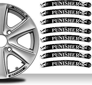 8 x Wheel Rim Vinyl Stickers Punisher Skull RV 28