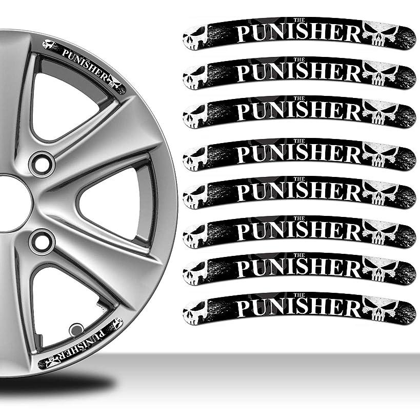 Skino 8 x Decals Self-Adhesive Wheel Rim Vinyl Stickers The Punisher Skull Emblem Decoration Accessories Auto Moto Motorcycle Car Van Bumper Tyre Truck Racing Tuning RV 28