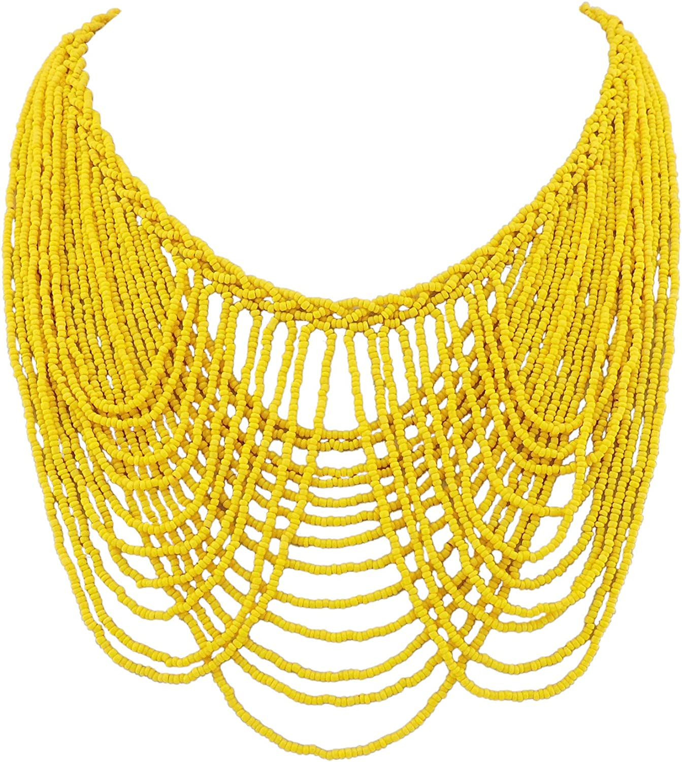 Bocar Multi Layer Statement Necklace Colorful Beaded Collar Bib Soiree Necklace for Women Gift (NK-10490)