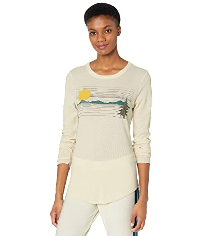 Chaser Scenic Route Heritage Waffle Knit Long Sleeve Tee (Cake) Women