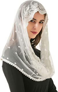 Pamor White Infinity Venise Lace Chapel Veil Mantilla Infinity Latin Mass Floral Veils Head Covering