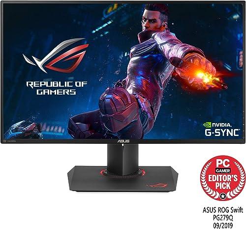 "Asus ROG Swift PG279Q 27"" Gaming Monitor, 1440P WQHD (2560 x 1440), IPS, 165Hz (Supports 144Hz), G-SYNC, Eye Care, Di..."