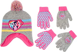 Hasbro My Little Pony Hat and 2 Pair Gloves or Mittens Cold Weather Set, Little Girls, Age 2-7