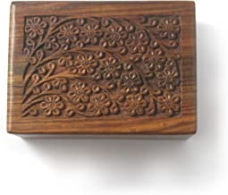 S.B.ARTS Wooden Hand Carved Urn Box-Beautifully Floral Engraved-Urn for Human & Pets Ashes-Cremation Urn for Dogs & Cats-F...