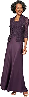 Alex Evenings Women's Long Mock Jacket Dress with Satin Skirt-Close Out