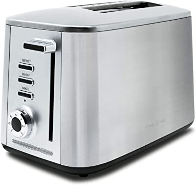 DREW & COLE RTCR Rapid 2 Extra Wide Slot Toaster with LED Progress Bar and Quick Defrost (Chrome), 18/8 Stainless Steel