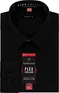 Men's Dress Shirt Slim Fit Flex Collar Stretch Solid