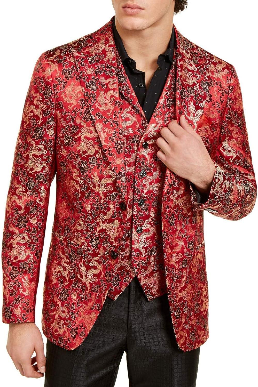 Tallia Men's Suit Seperates Long Red-Dragon Jacquard Red 48
