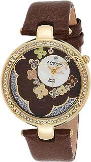 Akribos XXIV Women's Ornate Lady Diamond Flower Dial Swiss Quartz Leather Strap Watch