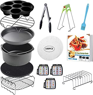 CAXXA 15 PCS 8 Inch XL Air Fryer Accessories, Deep Fryer Accessories with Recipe Cookbook Compatible with Growise Phillips Cozyna Fits All 4.2QT - 5.8QT Air Fryer