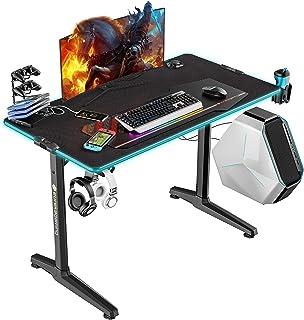 EUREKA ERGONOMIC Gaming Tisch mit LED P44 Gaming Schreibtisch mit RGB Beleuchtung PC Tisch Gaming Gamer Tisch mit Getränke...