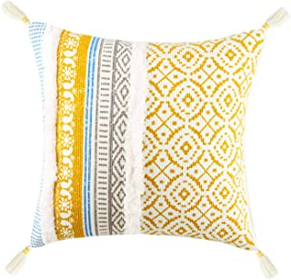 Merrycolor Tufted Decorative Throw Pillow Cover for Couch Sofa Woven Boho Tribal Pillow Cases with Tassel Square Cushion C...