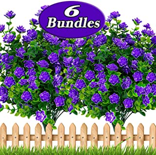 AXYLEX Artificial Flowers Outdoor Plastic - 6PCS Spring Outside Face Plants Fake Greenery UV Resistant No Fade Faux Daffodils Bundles Shrubs Home Garden Porch Patio Decoration Office Indoor (Purple)