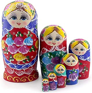 Best Starxing Russian Nesting Dolls Matryoshka Wood Stacking Nested Set 7 Pieces Handmade Toys for Children Kids Christmas Mother