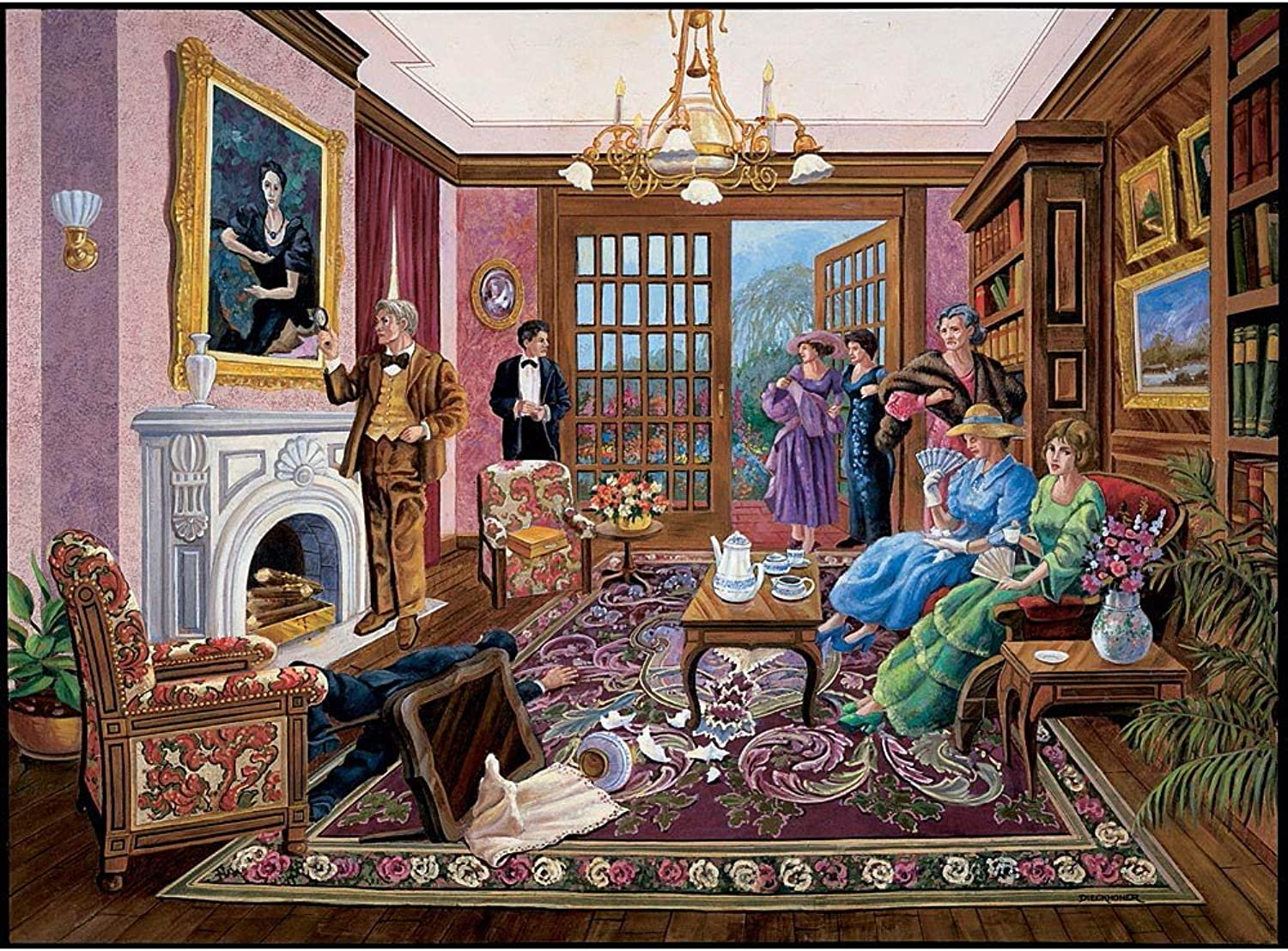 Bits and Pieces  1000 Piece Murder Mystery Puzzle  Murder at Bedford Manor by Artist Gene Dieckhoner  Solve The Mystery  1000 pc Jigsaw