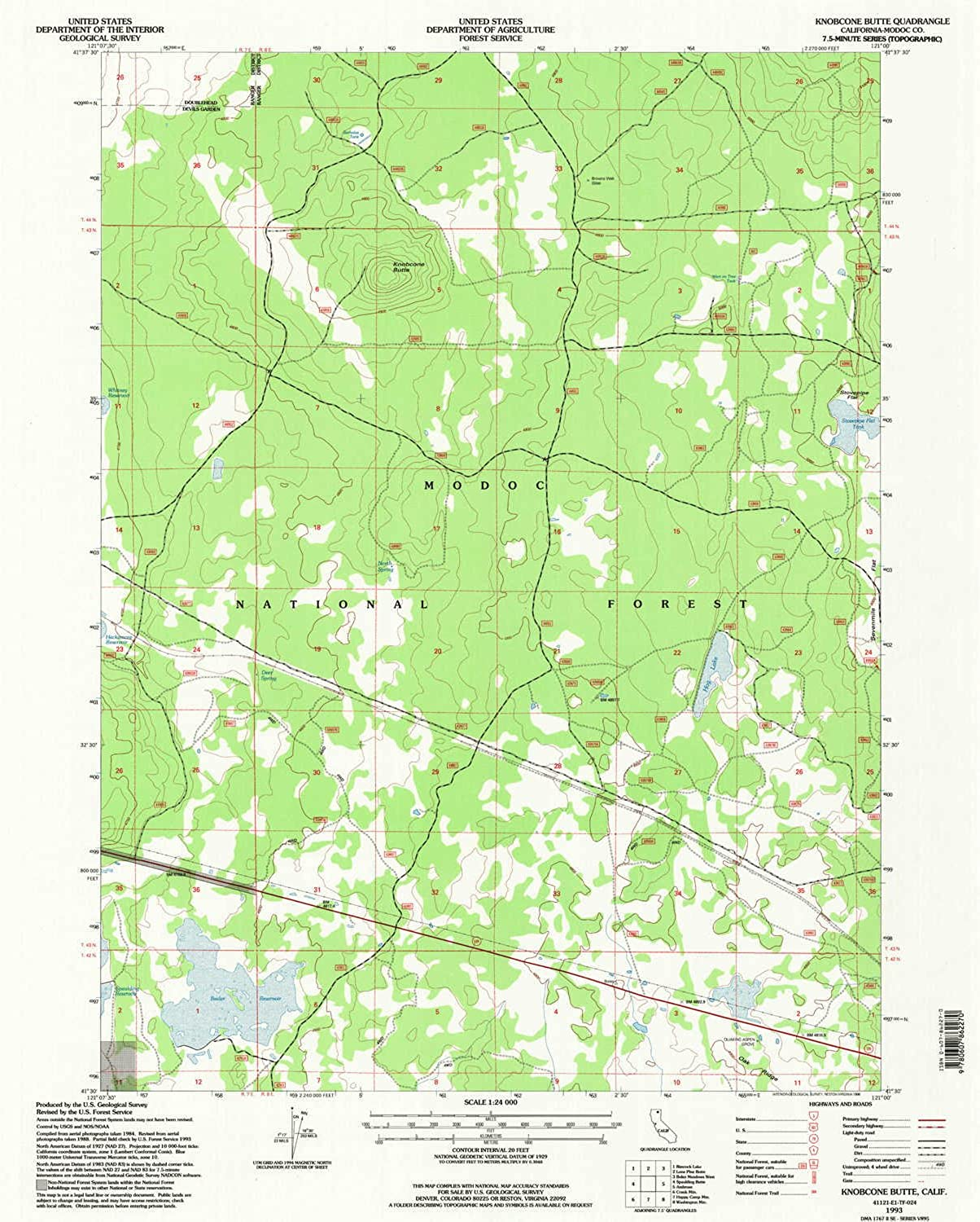 Knobcone Butte CA topo map, 1 24000 Scale, 7.5 X 7.5 Minute, Historical, 1993, Updated 1996, 26.7 x 21.4 in