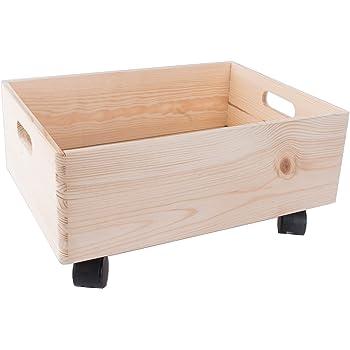 Tamaño mediano de madera apilables caja de almacenamiento con asas y ruedas /organización/caja de almacenaje: Amazon.es: Hogar
