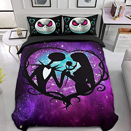 Skull Bedding Set Double Size 3d Nightmare Before Christmas Printed Duvet Cover With Zipper Closure Soft Microfiber Comforte Quilt Cover Amazon Co Uk Home Kitchen