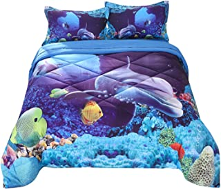 Wowelife Dolphin Comforter Sets Twin 3D Sea World Yellow Fish and Whale in Abysmal Sea 5 Piece with Comforter, Flat Sheet, Fitted Sheet and 2 Pillow Cases(Twin- 5 Piece)