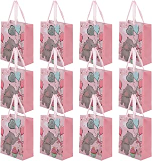 Toyvian 12Pcs Paper Gift Bag with Handles Elephant Pattern Party Favor Bag Grocery Bags Candy Goodie Pouches for Wedding B...