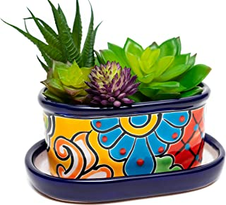 ENCHANTED TALAVERA Ceramic Succulent Pot Mini Flower Planter Cactus Bonsai Pot W/ Drainage & Drip Dish Home Garden Office ...