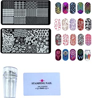 24x7 eMall Nail Stamping Kit with 2 Rectangular Image Plates With Stamper And Scrapper Random Designs For Beginners.