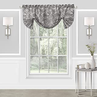 GoodGram Shabby Pastel Floral Chic Custom Watercolor Window Curtain & Valances for Kitchens, Living Rooms, Nurseries & Bedrooms - Assorted Colors & Sizes (Gray, Single Valance)