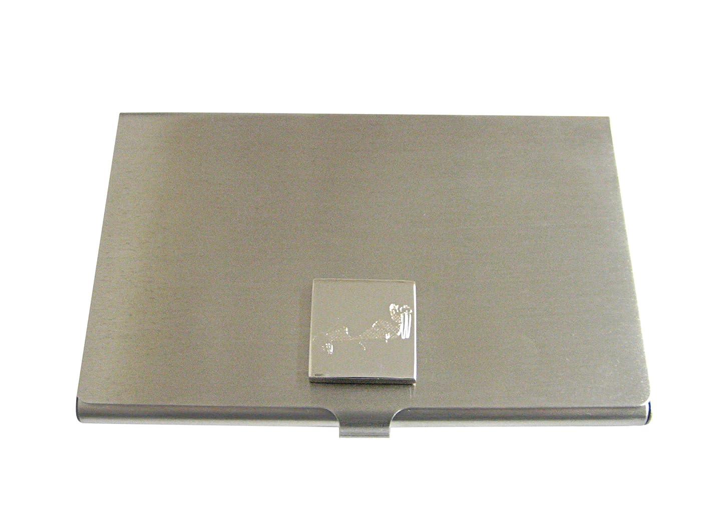 平和的タッチ申請中Silver Toned Etched Walrusビジネスカードホルダー