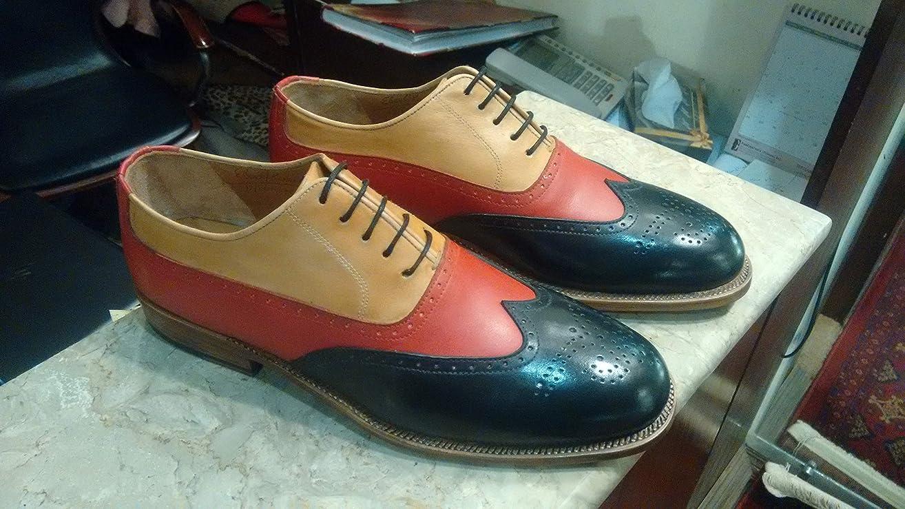 Handmade Two Tone Correspondent Wingtip Oxfords For Men Custom Made Shoes for Men