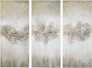 Madison Park Taupe Luminous Wall Art-Canvas Hand Brushed Embellishment Modern Abstract Stretched 3 Piece Set Painting Livi...
