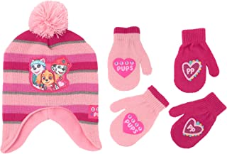 Girls Hat and Glove Set, Paw Patrol Reversible Hat and 2 Pair Mitten or Gloves For Girls Age 2-7
