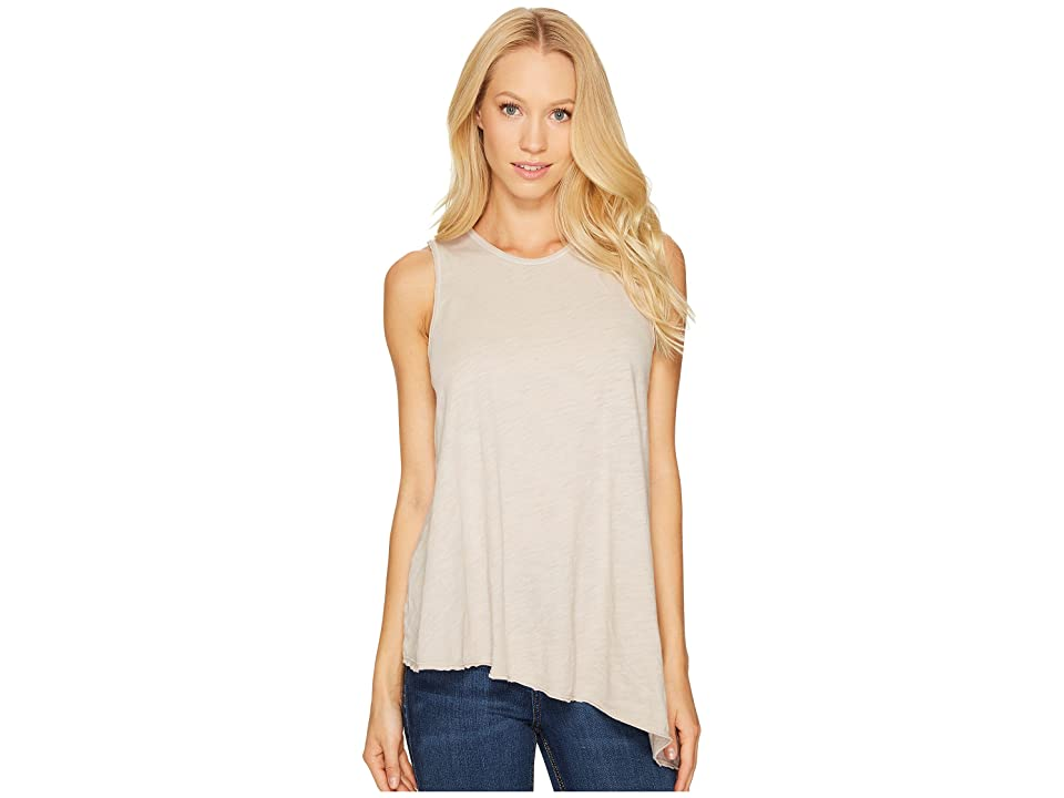 Three Dots Asymmetrical Tank Top (Beige Sand) Women