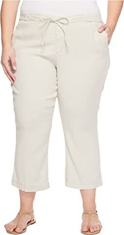 Plue Size Drawstring Ankle Pants in Stone