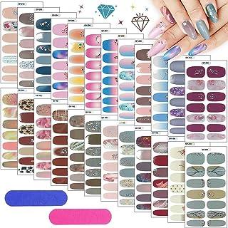 Kalolary 24 Sheets Full Wraps Nagellakstickers met 2 STUKS Nagelvijl, Glitter Diamond Nail Wraps Zelfklevende Nagelkunstst...