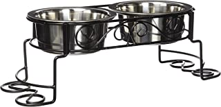 Spot Mediterranean Double Diner Elevated Pet Bowls | Elevated Dog Feeder | Dog Feeder for Small Dog | Elevated Dog Feeder for Medium Dogs | Elevated Dog Feeder for Large Dog |Stainless Steel | 1 Quart