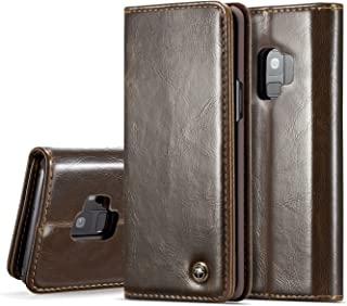 Protective Case Compatible with Samsung S9 Wallet Case,Crazy Horse Protective Flip PU Leather Phone Case [Card Slot] [ Magnet Clutch Foldable] - Compatible Samsung Galaxy S9 Phone case