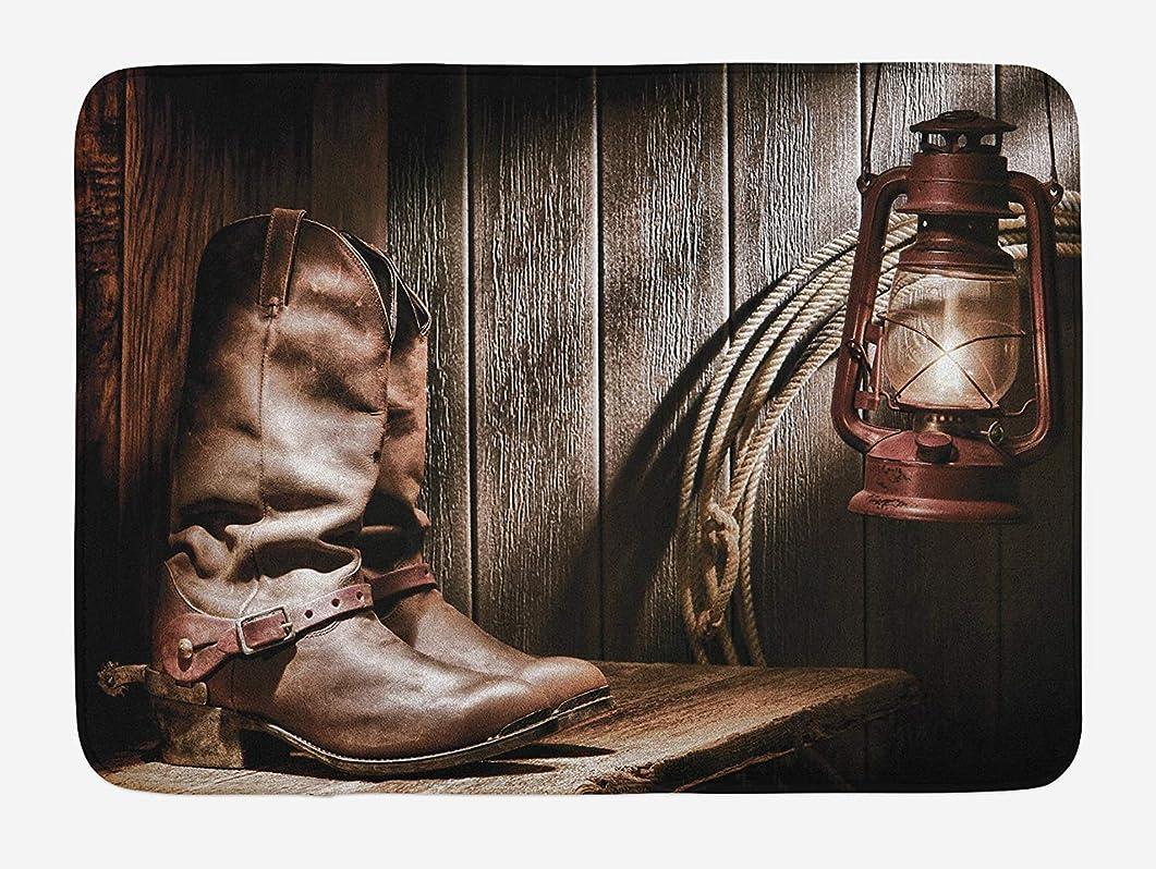 ラベンダー用心する人類ヴィンテージ牧場ノスタルジック民俗写真にベンチに西バスマット、ダラスカウボーイズとランタン、滑り止めバッキングとぬいぐるみバスルームインテリアマット、40 x 60 CMインチ、ブラウン [並行輸入品]