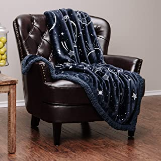 Chanasya Super Soft Solar System Galaxy Star Space Print Gift Throw Blanket| Featuring Nine Planets Orbiting The Sun Including Pluto Reversible for Bed Couch Chair Birthday (50x65) - Navy