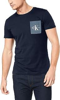 Calvin Klein Jeans Men's Monogram Pocket Slim Tee, Night Sky/Chambray, S