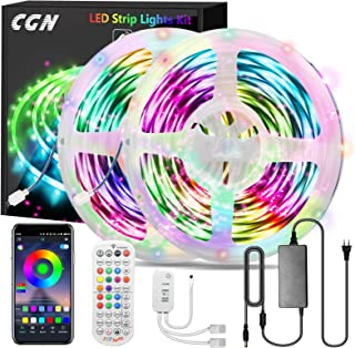 Tiras LED Bluetooth 30M, CGN RGB 5050 Tira de Luces LED Iluminación Kit de LED Strip Multicolores Musical Inteligente con ...