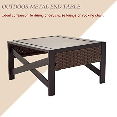 LOKATSE HOME Outdoor Metal Patio Bistro Coffee Side End Table with X Shaped Steel Legs, Wicker Rattan Around, Brown